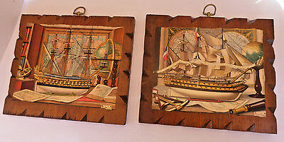 (2) Vintage Mid Century/1960's Wooden SHIP Wall Hangings Plaques Pictures