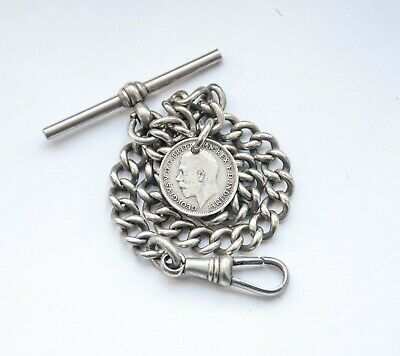 Antique  Albert Pocket Watch Chain + 1917 Silver Coin Fob