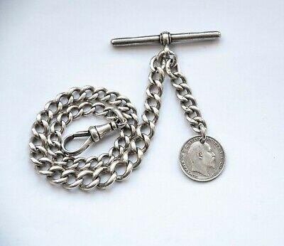 Antique Solid Silver Albert Pocket Watch Chain + 1902 Silver Coin Fob