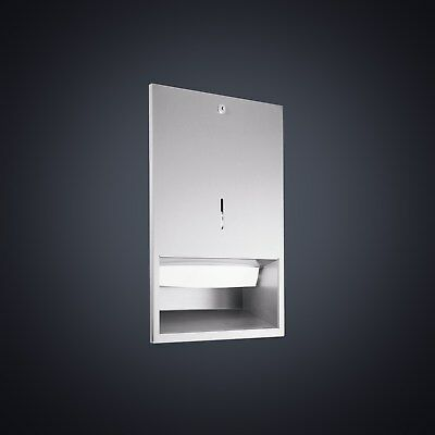 Dolphin Prestige Lockable Recessed Paper Towel Dispenser DP3301 Satin S/Steel