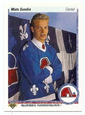 1990-91 Upper Deck #365 Mats Sundin RC Rookie Quebec, Toronto Maple Leafs