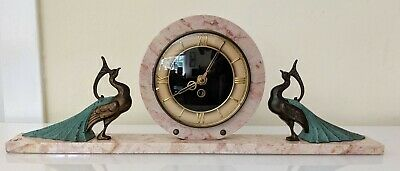 French France Art Deco Peacock Mantle Clock Marble