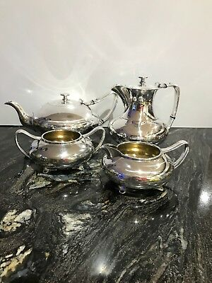 James Dixon & Sons of Sheffield Silver Plate 4pc Vintage Tea Coffee Milk Sugar