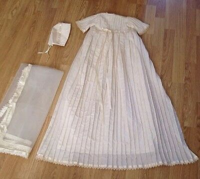Long Cream Christening Robe With Hat And Veil