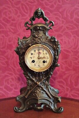 Antique French Art Nouveau Bronzed Spelter 8-Day Striking Mantel Clock
