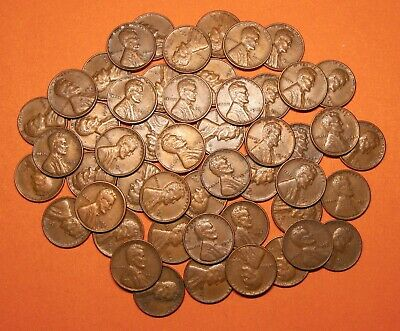 "1946 Mixed PDS Lincoln Wheat Cents Pennies, ""Roll"" of 50 Loose, Circulated"