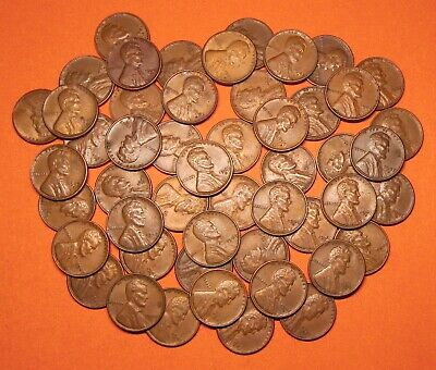 """1947 Mixed PDS Lincoln Wheat Cents Pennies, """"Roll"""" of 50 Loose, Circulated"""
