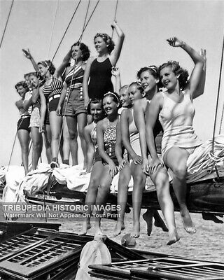 1934 Vintage Photo Girls in Bathing Suits on Sail Boat Beautiful Print Swimsuits