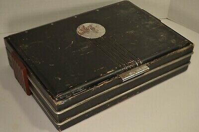 """VIntage Art Deco Wooden Black, Red, and Silver Storage Box 14.5""""x10'X3.75"""""""
