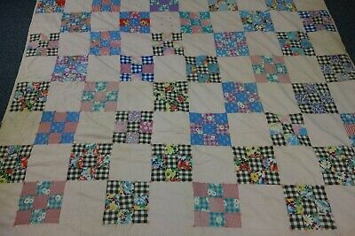1930's Tied Quilt- NINE PATCH Pattern -63x73-Lots of Pink & Flowers-CUTTER SALE