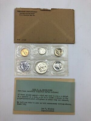 1958 United States Silver Five Coin Proof Set Flat Pack In Original Envelope