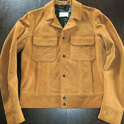 6a52b60fc30 SANDRO BROWN SUEDE Calf Skin Leather Trucker Jacket MINT M - $490.00 ...