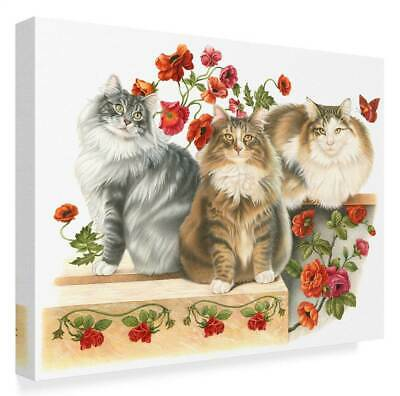 Three Cats and Roses' Gallery Wrapped Canvas Art [ID 3769187]