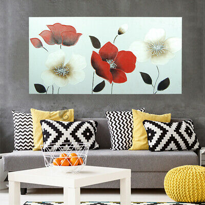 Hand Painted Framed Canvas Oil Painting Modern Wall Art Home Decor Poppy Flowers