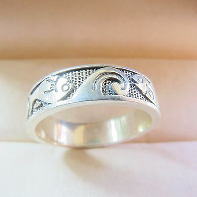 New Sterling Silver Ring Women & Men Lucky Two Fish US Size 8.5 5mmW