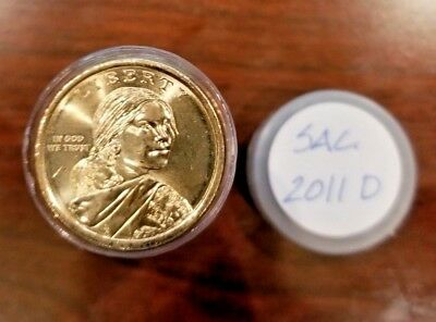2011-D - Roll of 25 Sacagawea Native American $1 Dollar Coins in Tube