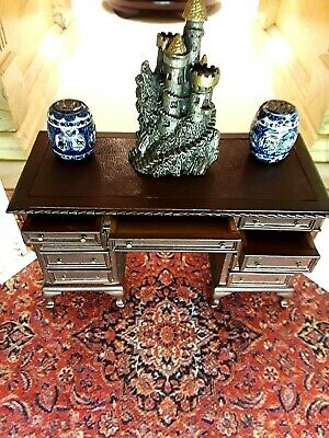 ONE  ENGLISH STYLE , LEATHER TOP DESK   BY  Bespaq,  Dollhouse  1:12 scale