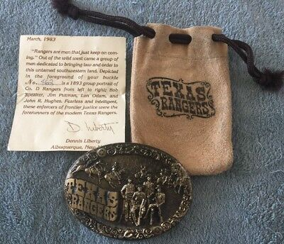 1983 Texas Rangers High Mesa Wild West Limited Ed. #462 Solid Bronze Belt Buckle
