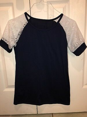 501bd36b338176 CHAPS S SMALL Henley T-Shirt Turquoise Blue Lace Short Sleeve ...