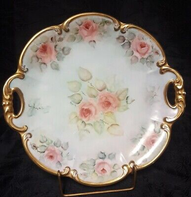 """Antique  Hutschenreuther Tirschenreuth Germany Hand Painted ChargerSigned 13"""""""