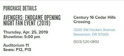 Avengers: Endgame Opening Night Fan Event (2) Tickets (Portland, OR)