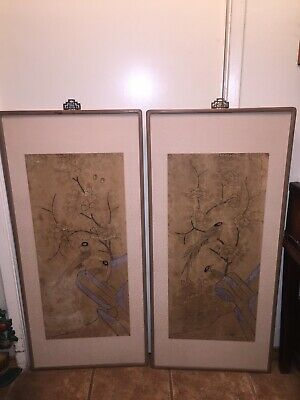 Antique Pair Of Chinese Asian Hand Painted Framed Panel Wall Hangings