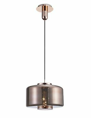 Vintage Style Copper Ceiling Pendant With Rose Gold Glass Shade - Home Lighting