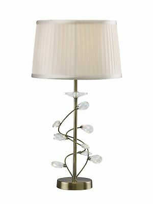Imressive 1 Light Antique Brass Table Lamp With White Shade & Crystal Detail