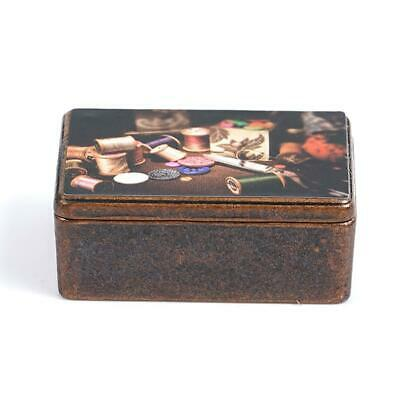 Dollhouse Miniature 1:12 Toys Metal Antique Sewing Box With Accessories for Doll