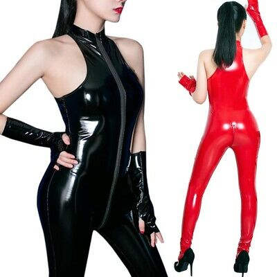 Damen Jumpsuit Latex Zipper Ärmellos Catsuit Wetlook Bodysuit Overall Kunstleder