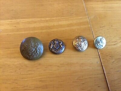 Nice Collection of Early 20th Century Military Buttons- 3 Brass, 1 Plastic Faced