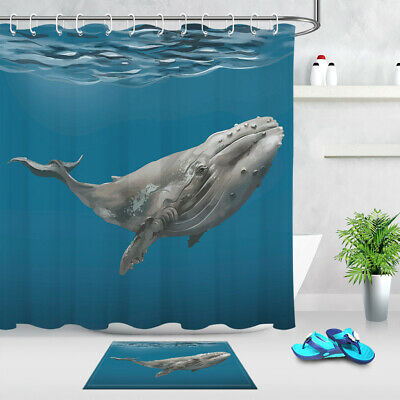 Bathroom Waterproof Fabric Shower Curtain Liner Underwater World Humpback Whales