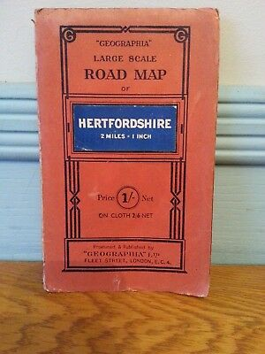 Geographia Large Scale Road Map Hertfordshire Vintage Paper Fold Out