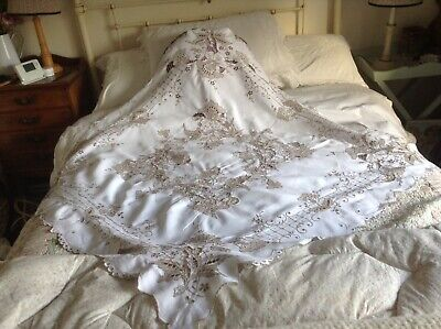 Stunning Madeira Work, Hand Embroidered Flowers White Linen Tablecloth