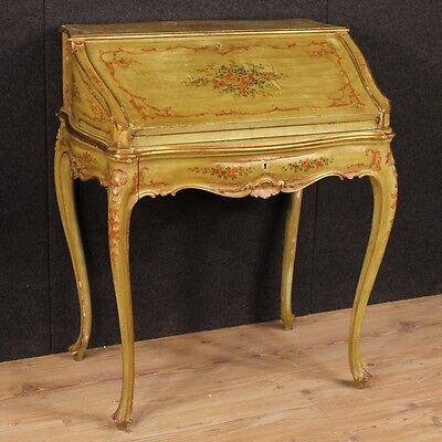 Fore Venetian Wood Paint Lacquered Painting Secretary Desk Antique Style 900 Xx