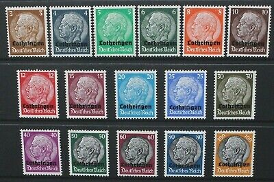 GERMANY OCCUPATION ISSUES LORRAINE 1940 Overprint. Set of 16. Mint HINGED SG1/16