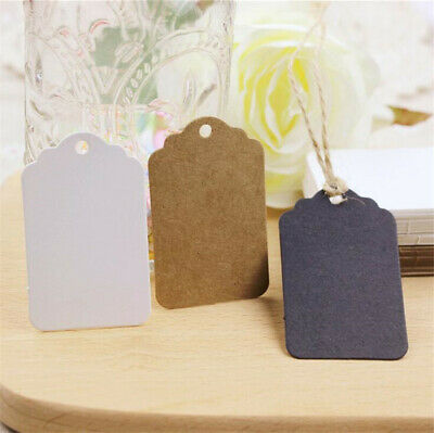500PCS Blank Brown Kraft Paper Card Hang Tag Party  Stamp Name Label Useful New