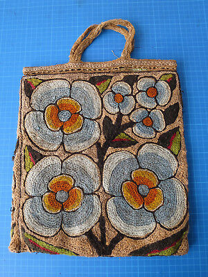Vintage/antique arts & crafts hessian bag embroidered with wool, folk art