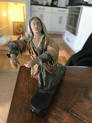 Antique 1800's Painted Carved Wood & Cloth MARY religious Christian FIGURE santo