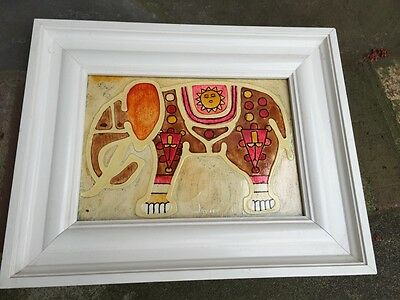 """Vintage 60's 70's Mexican Folk Art PAINTING signed """"JAVIER"""" groovy hippy psyched"""