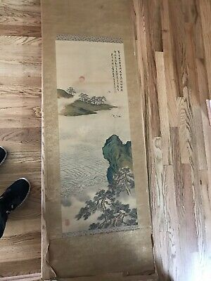 Antique Japanese SCROLL PAINTING  Mountain Landscape Asian Art Chinese