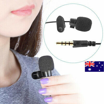 AU Mini Clip On Lapel Microphone Hands-free 3.5mm Wired Condenser Lavalier Mic