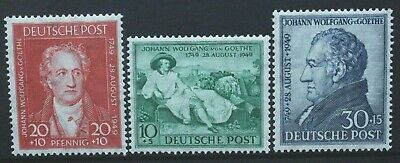 GERMANY BRITISH & AMERICAN ZONES 1949 Goethe Bicentenary. Set of 3 MH SGA148/150