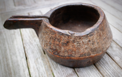 Unusual South Asian Keralan antique wooden water carrier with with spout/handle