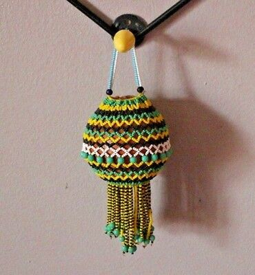 Antique African Tribal Hand-Woven Glass Bead Decorative Nut