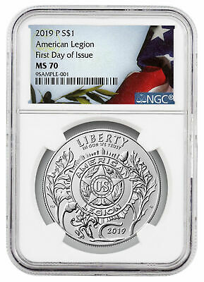 2019 P American Legion 100th Silver Dollar NGC MS70 FDI Liberty Flag SKU57817