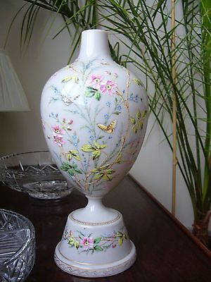 Opaline glass vase Victorian hand painted high quality detailed