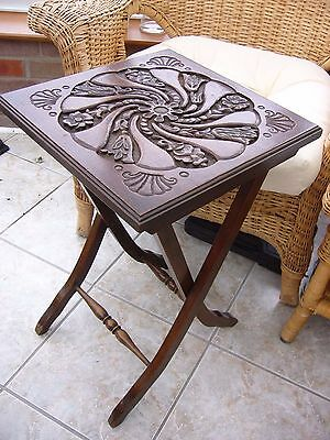 Small hand carved top solid wood folded antique table