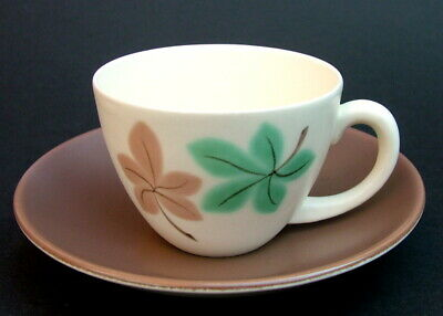 1957 Poole Falling Leaves Pattern 100ml Coffee Cups & Saucers By Ruth Pavely VGC