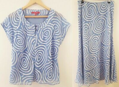 Ladies Two Piece Jacques Vert Blue Formal Outfit Top ( UK 18 ) & Skirt ( UK 12 )